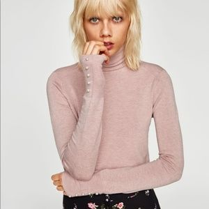 Zara pink turtleneck sweater with pearls